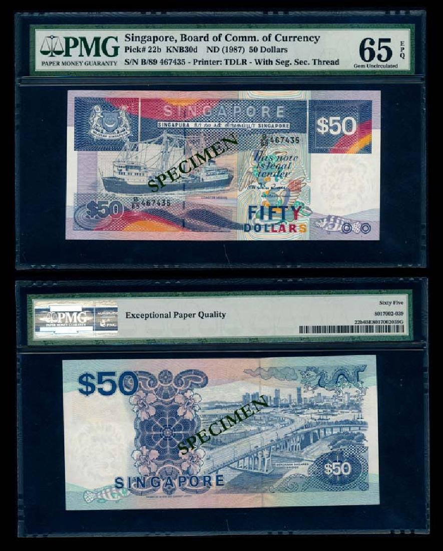 Singapore $50 1987 ship PMG Gem UNC65EPQ