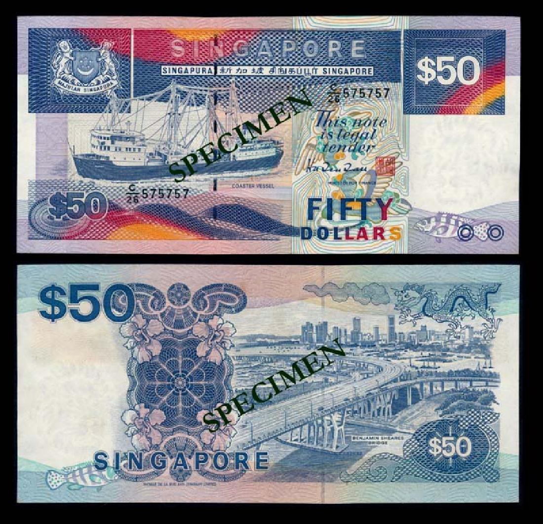 Singapore $50 1987 ship