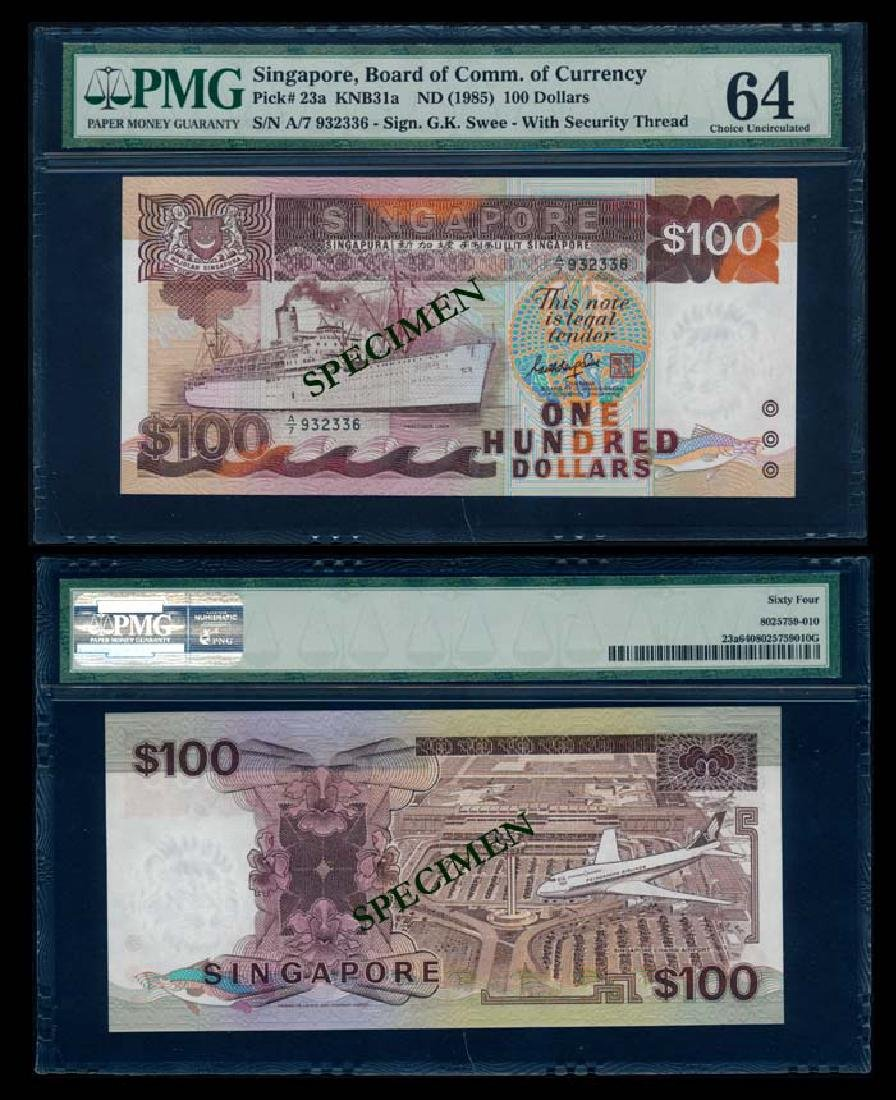 Singapore $100 1985 ship GKS PMG
