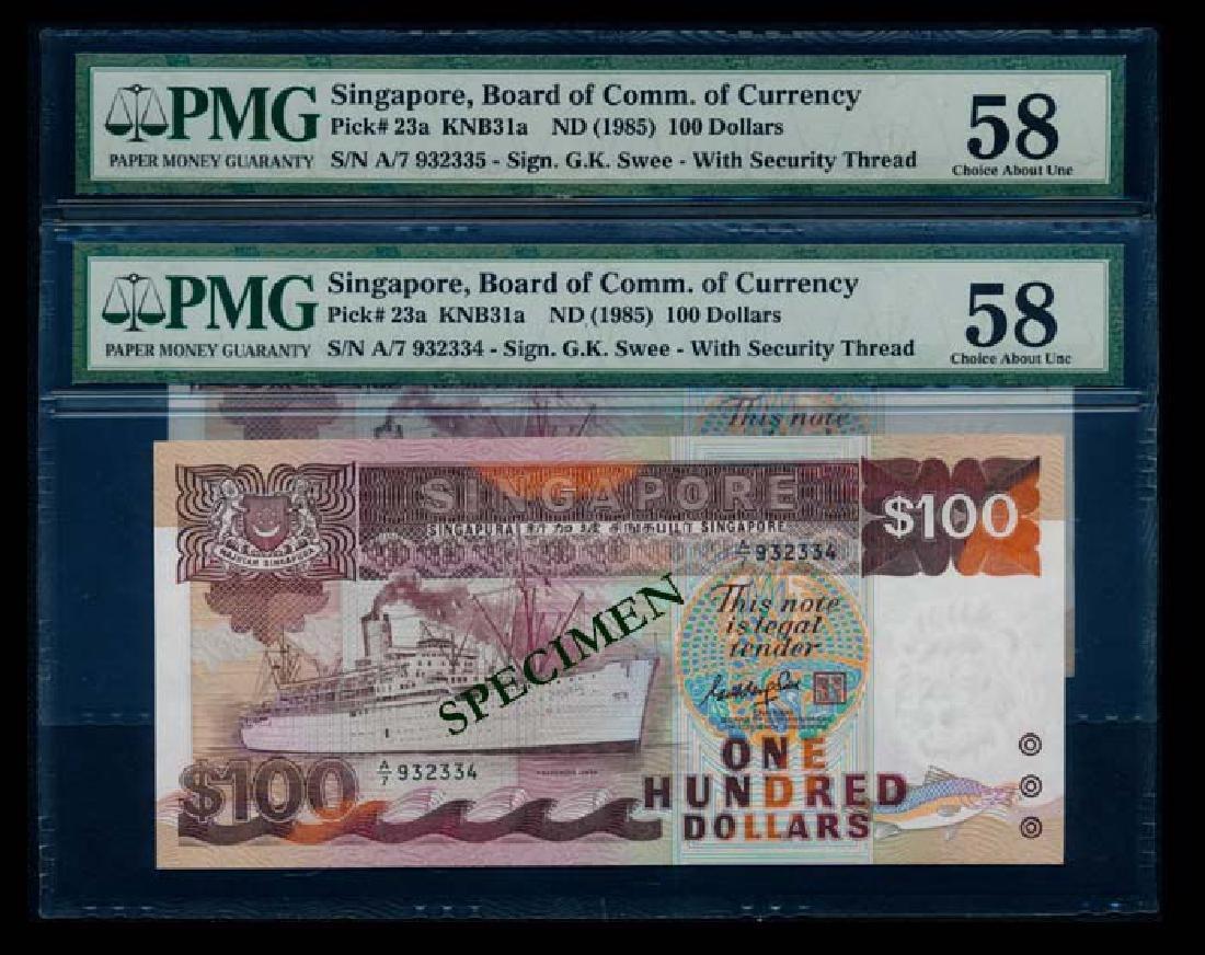 Singapore 2x$100 1985 ship GKS PMG