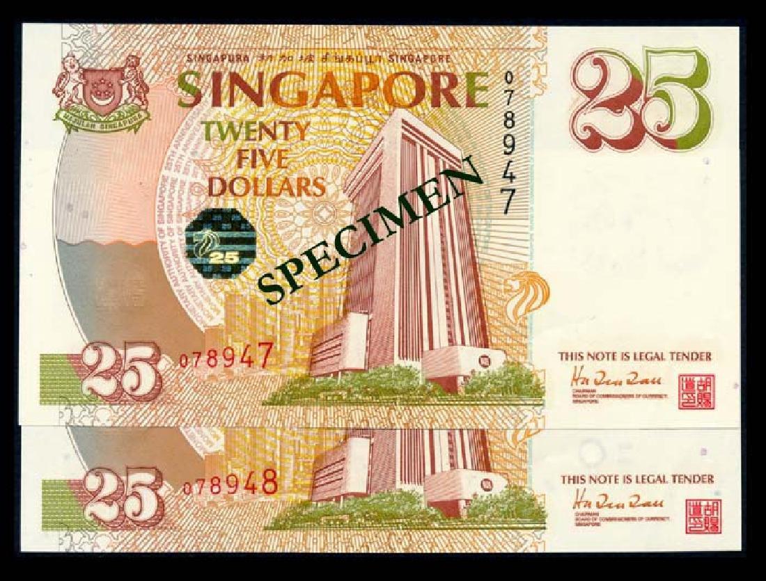 Singapore 2x$25 1996 MAS 25th Anniversary