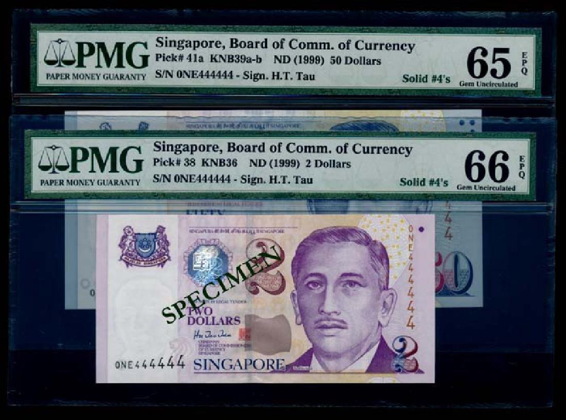 2 Singapore $2-$50 1999 HTT 0NE 444444 PMG