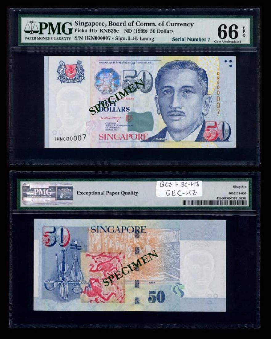 Singapore $50 1999 LHL low no replacement