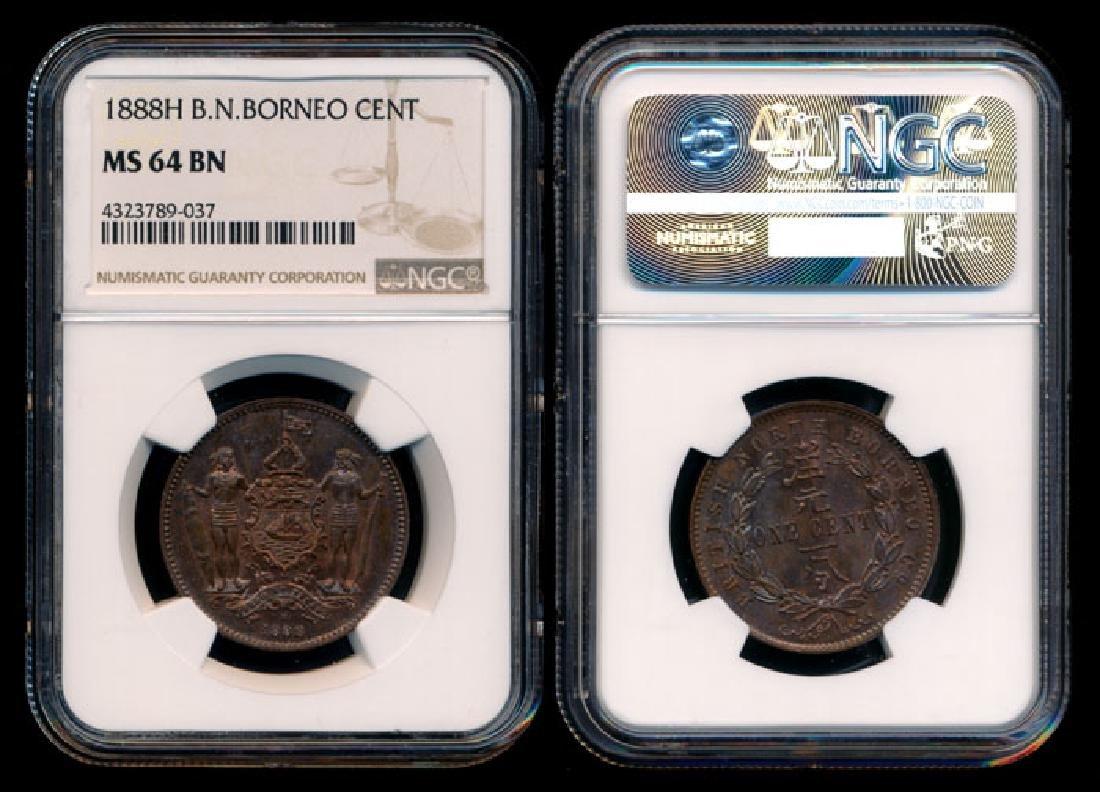 British North Borneo 1c 1888H NGC MS64BN