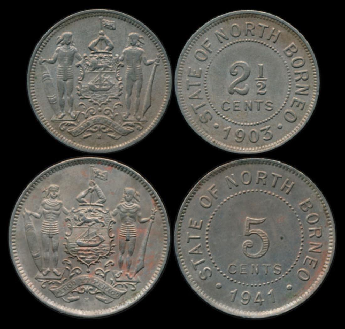 British North Borneo 2-1/2c 1903H 5c 1941H