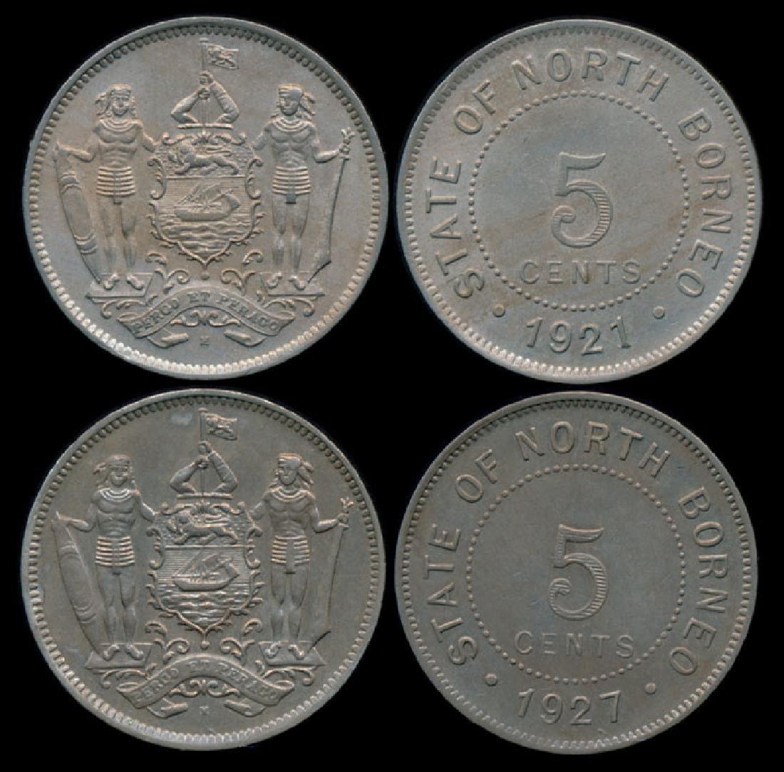 British North Borneo 5c 1921H 1927H GEF-AU