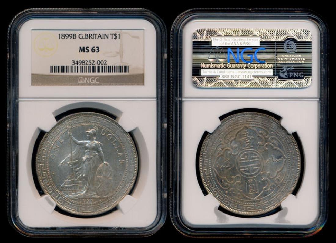 British Trade Dollars 1899B NGC MS63