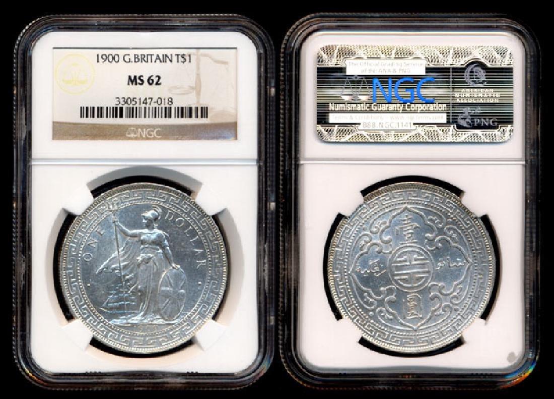 British Trade Dollars 1900 NGC MS62