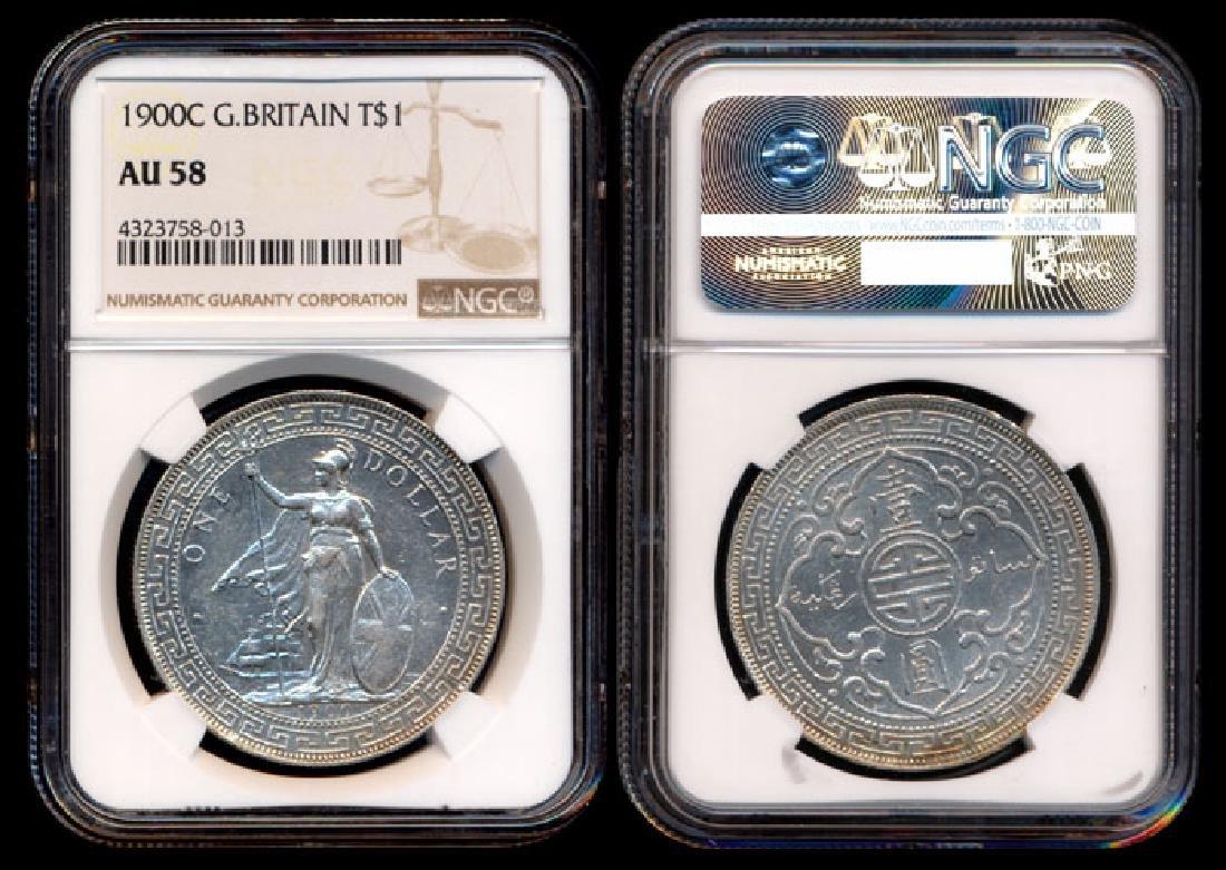British Trade Dollars 1900C NGC AU58 Scarce