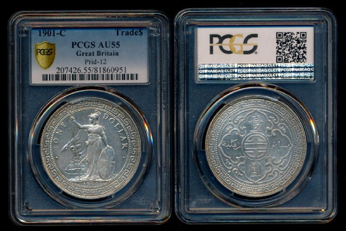 British Trade Dollars 1901C PCGS AU55