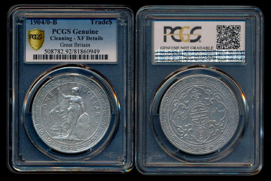British Trade Dollars 1904/0B overdate PCGS