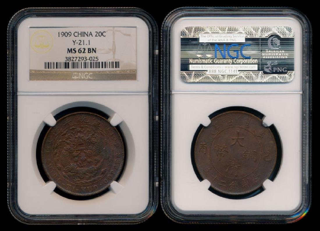 China Empire 20 Cash 1909 NGC MS62BN