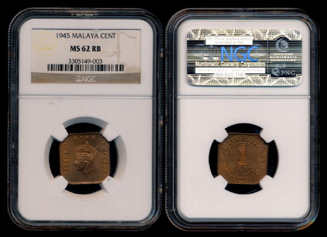 Malaya KGVI 1c 1945 NGC MS62RB