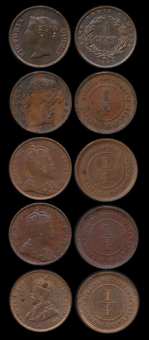 5 Straits Settlements  1/4c 1845-1916