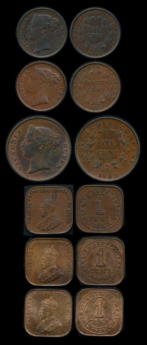 6 Straits Settlements 1/2c-1c 1845-1926