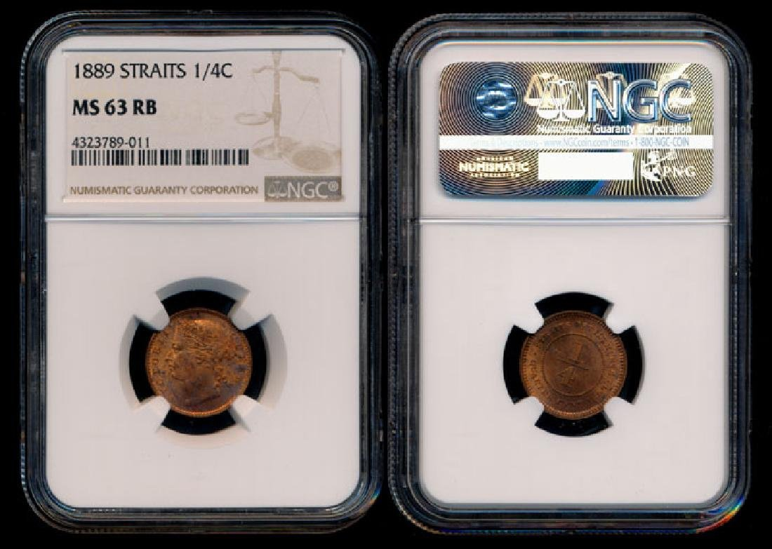 Straits Settlements QV 1/4c 1889 NGC MS63RB