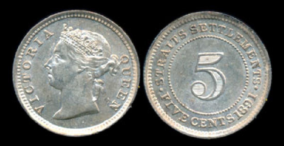 Straits Settlements QV 5c 1891 AU-UNC