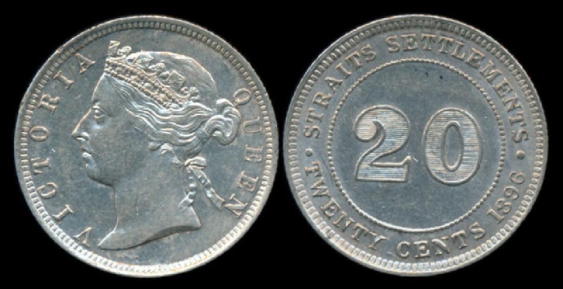 Straits Settlements QV 20c 1896 AU