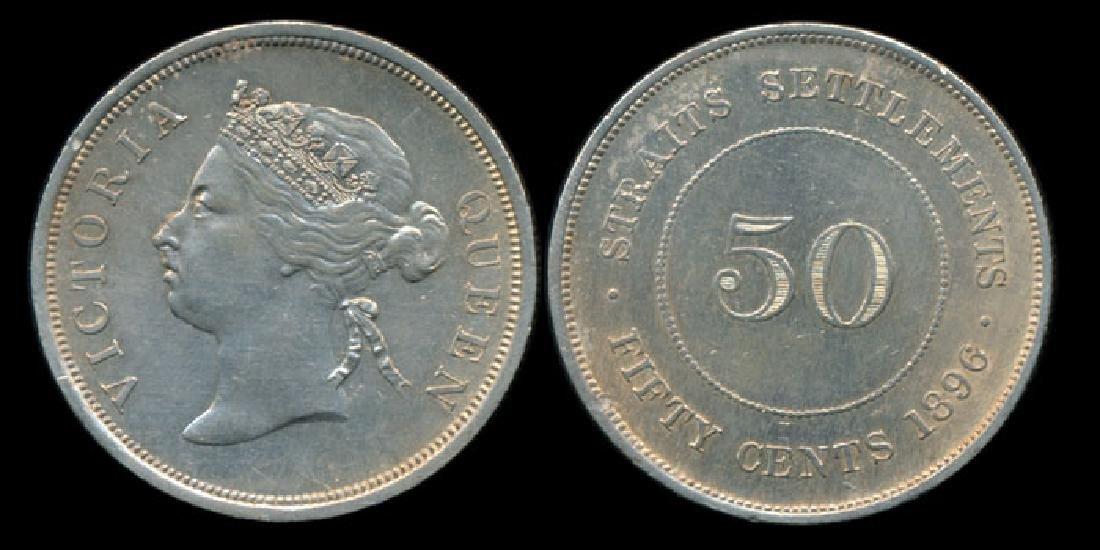 Straits Settlements QV 50c 1896 GVF-EF