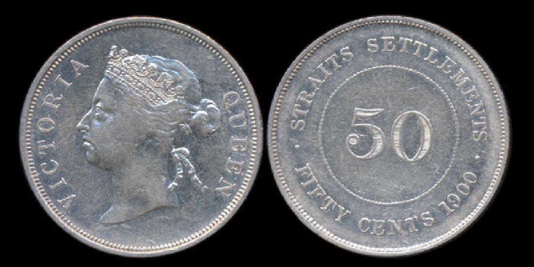 Straits Settlements QV 50c 1900 VF