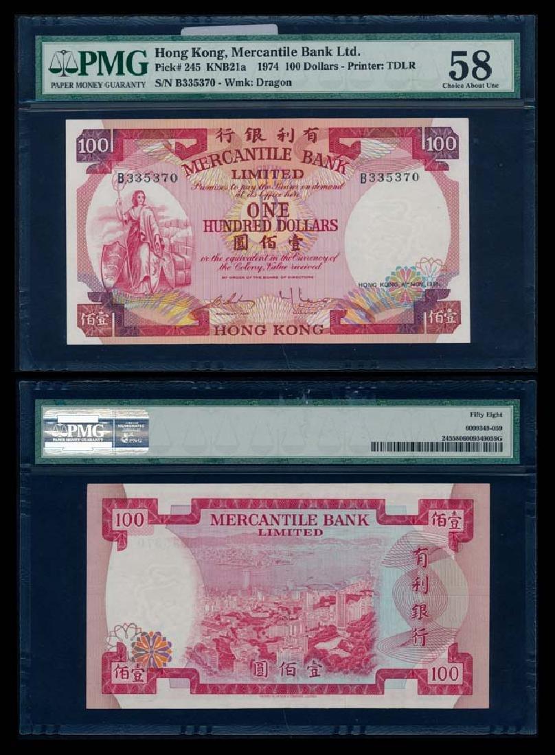 Hong Kong Mercantile Bank Ltd $100 1974 PMG