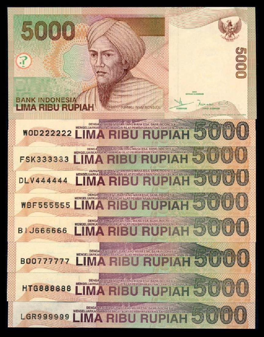 Indonesia 9x5000 Rupiah 2001-04