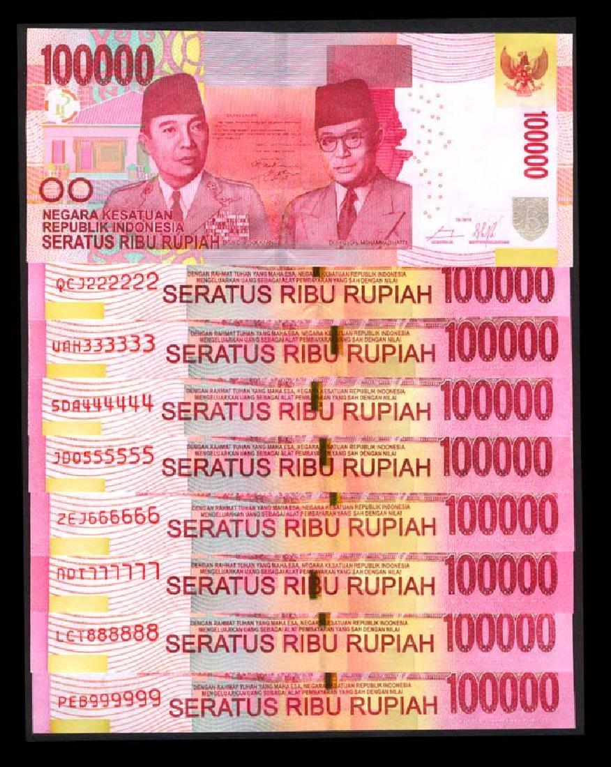 Indonesia 9x100000 Rupiah 2014