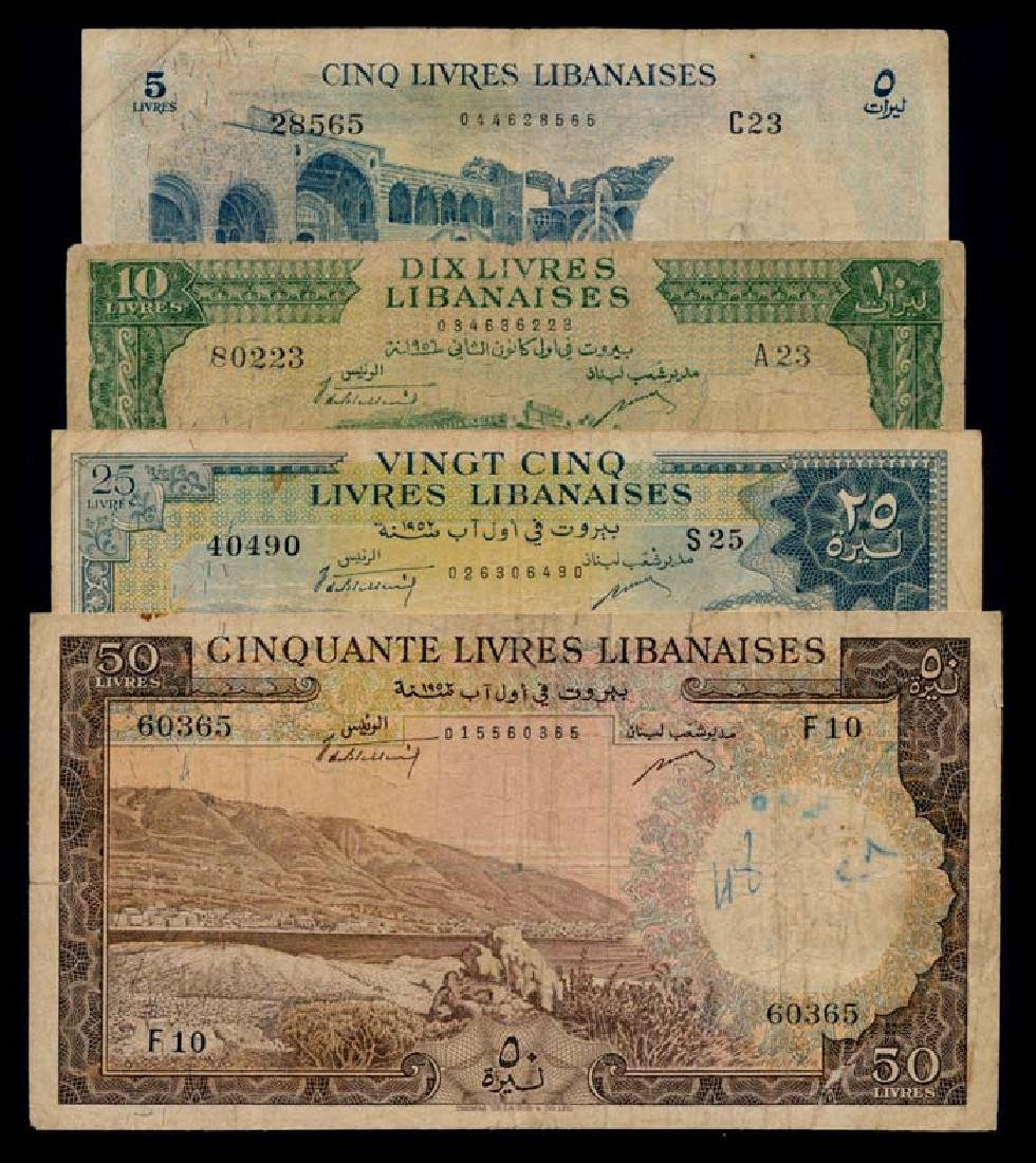 4 Lebanon 5-50 Livres 1952-64