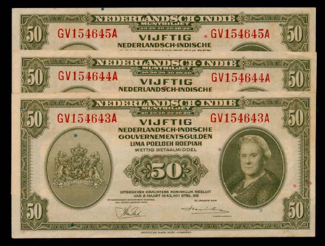 Netherlands Indies 3x50 1943 Gulden AU