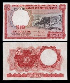 Malaya Br Borneo $10 1961 Buffalo Small A Vf