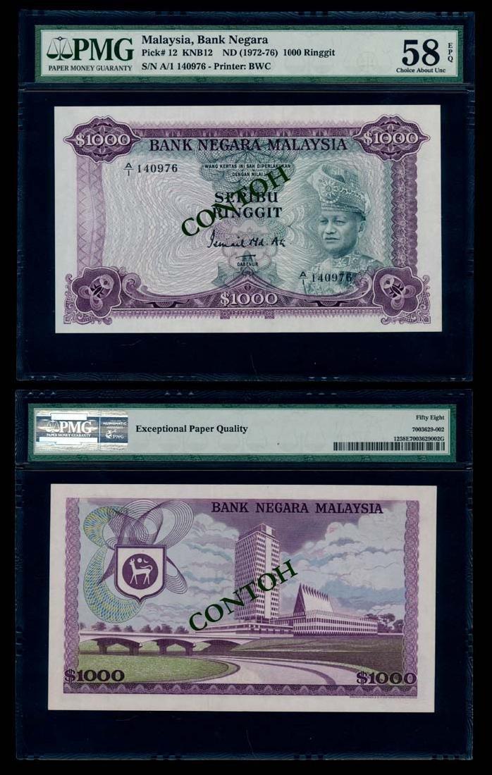 Malaysia $1000 1972-76 A/1 140976 PMG