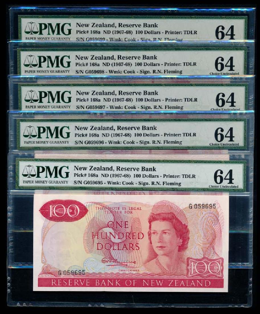 New Zealand 5x$100 QEII 1967-68 PMG