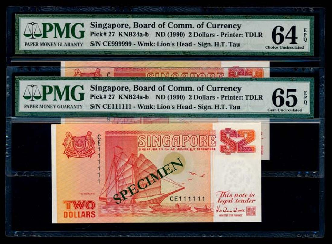 Singapore 9x$2 1990 ship orange PMG