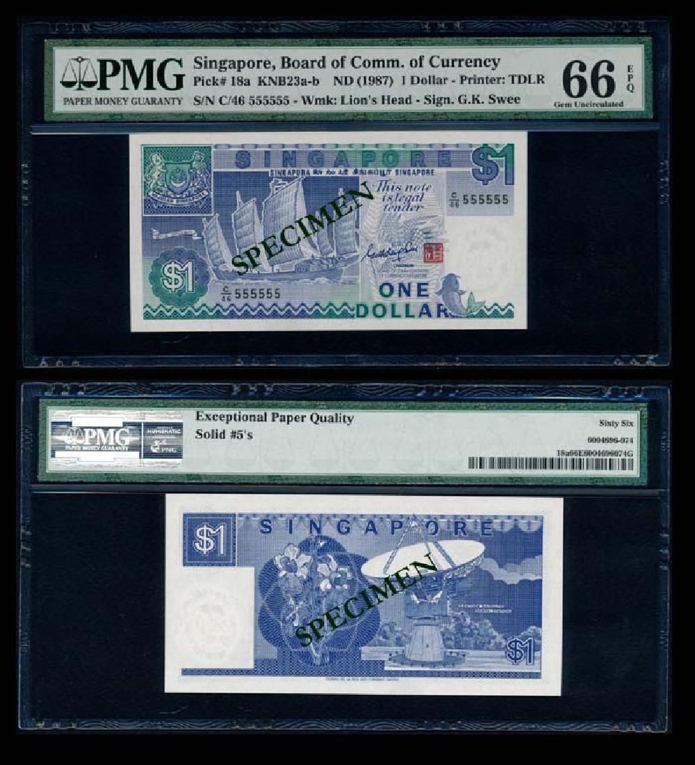 Singapore $1 1987 ship GKS C/46 555555 PMG