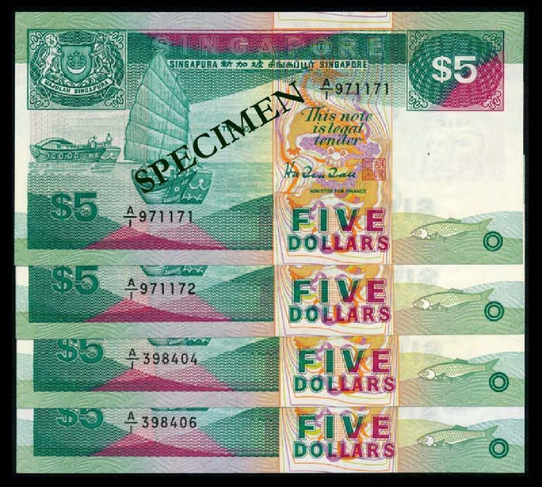 Singapore 4x$5 1989 ship 1st prefix