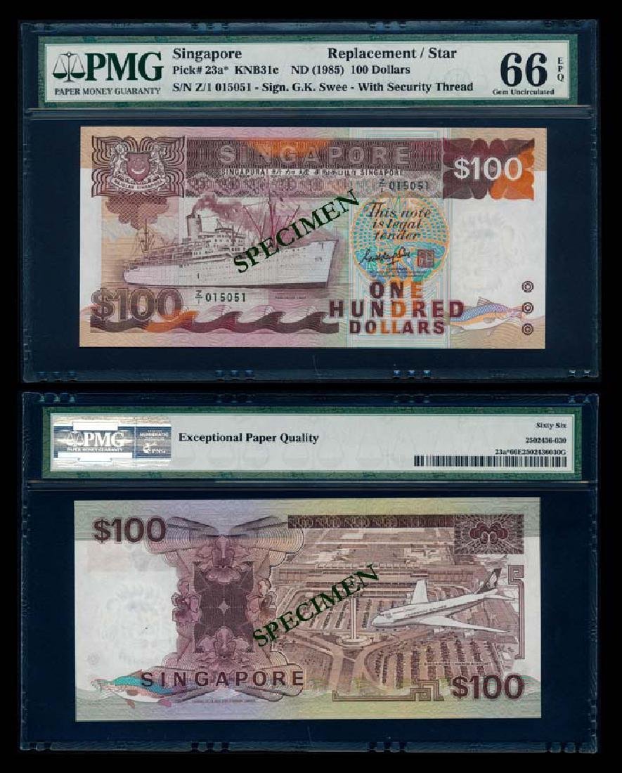 Singapore $100 1985 ship GKS replacement PMG