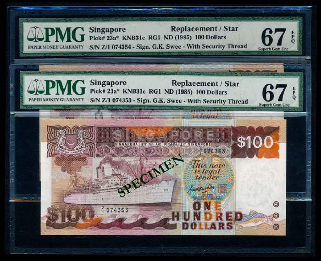 Singapore 2x$100 1985 ship GKS replacement