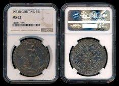 British Trade Dollars 1934B NGC MS62