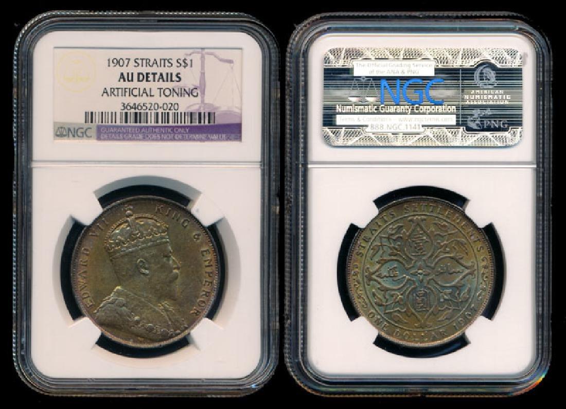 Straits Settlements KEVII $1 1907 NGC