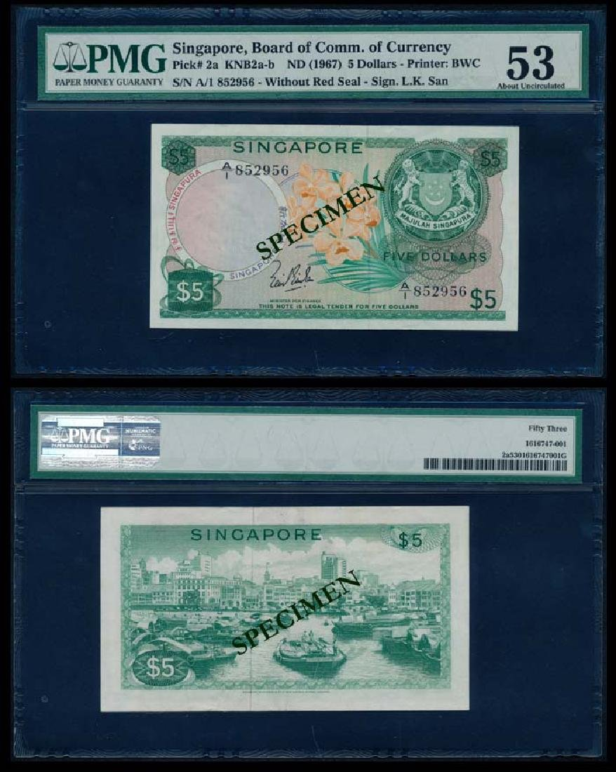 Singapore $5 1967 LKS PMG AU53