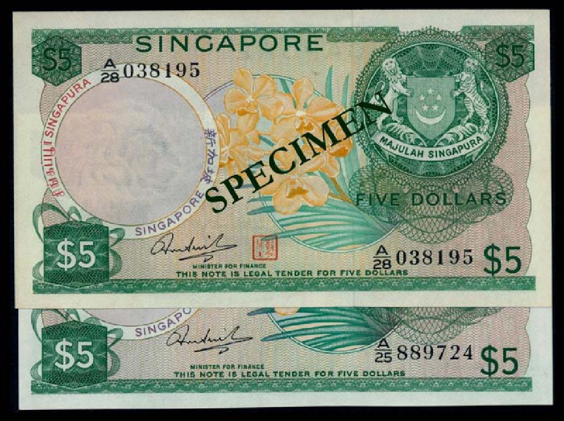 Singapore 2x$5 1972-73 HSS w/o seal w/seal