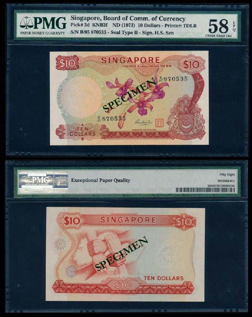 Singapore $10 1973 HSS w/seal PMG