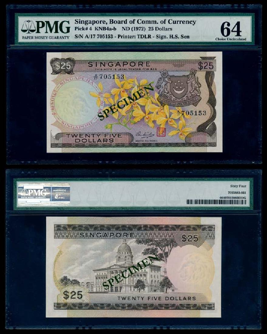 Singapore $25 1972 PMG Choice UNC64