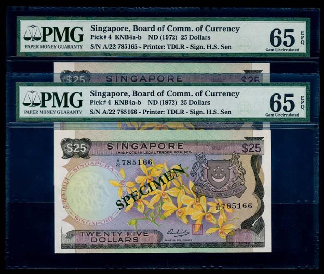 Singapore 2x$25 1972 PMG Gem UNC65EPQ