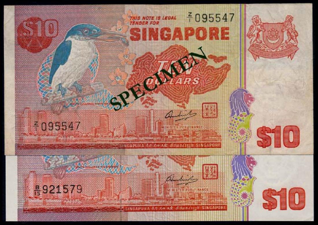 Singapore 2x$10 1976 bird GEF-AU