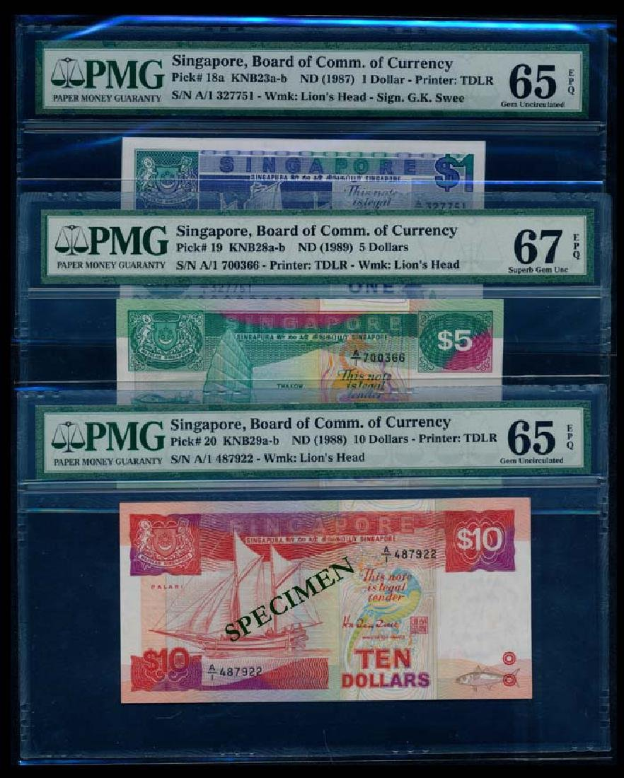 3 Singapore $1-$10 1987-89 ship 1st prefix