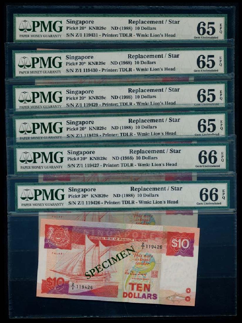 Singapore 6x$10 1988 ship replacement PMG