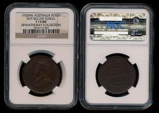 Australia KGV Penny 1920M NGC F15BN