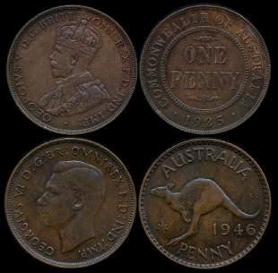 2 Australia KGV Penny 1925 KGVI Penny 1946