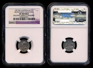 Australia KGV 3 Pence 1917M NGC XF Details